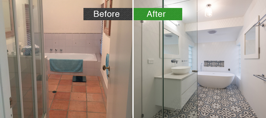 Before an after shot of a bathroom renovation in Perth.